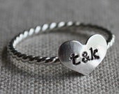 true love ring - sterling silver and stamped with couples initials - amycornwell