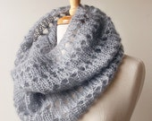 Grey Infinity Scarf - Fall Fashion - Women's Scarf - Luxurious Knit Cowl Snood in Kid Mohair and Silk - TickledPinkKnits