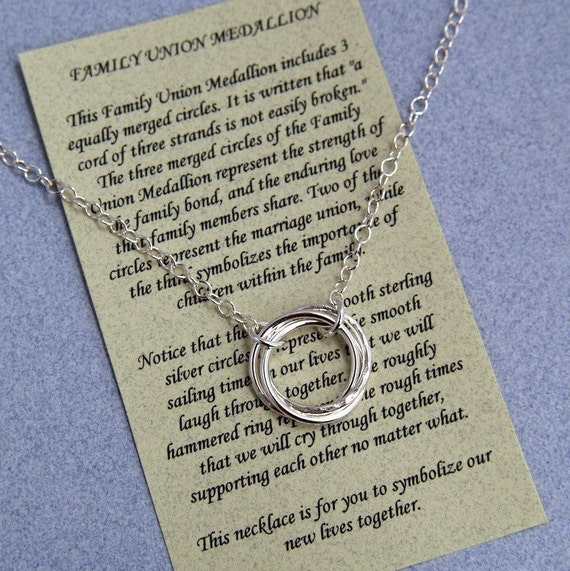 FAMILY UNION MEDALLION Necklace Sterling Silver with Poem - Wedding - Marriage