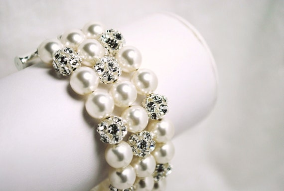 Bridal Bracelet, White Pearl and Rhinestone 3 Strand Wedding Bracelet, Elegant, Swarovski Pearls, Thick, B244B10