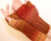 Red, Rust, and Brown, Hand-knit Fingerless Mittens with Thumb, Women's Sizes Small through Large, Sedona Sun - knittyknittybangbang