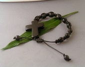 Macrame bracelet - Black Agate Cross