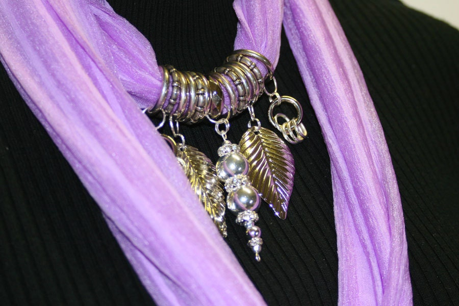 Scarf Jewelry Lavender Pastel Purple Pendant Scarf Clasp Ring  Scarves With Jewelry On Them