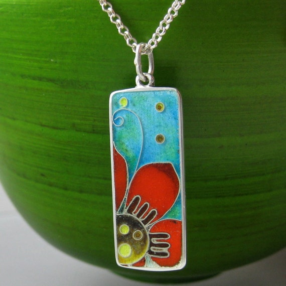 Flor - cloisonne enamel necklace