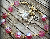 Rosy - Pink Czech Glass and Bronze Rosary Bracelet