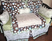 SALE Gorgeous Blue and Brown Custom Boutique Crib Bedding - pishposhcreations