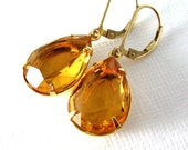 Topaz Color Vintage Glass Jewel Earrings, 14K Gold Fill Leverback Ear Wires, Estate Style Earrings - ZhivanaDesigns