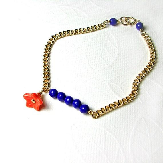 Cobalt Blue Bracelet Orange Flower Gold Chain Beads Tangerine Tango Summer Fashion Garden