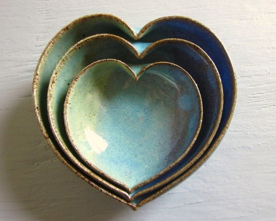 3 nesting ceramic heart bowls -  4 inches handmade - wheel thrown - ready to ship