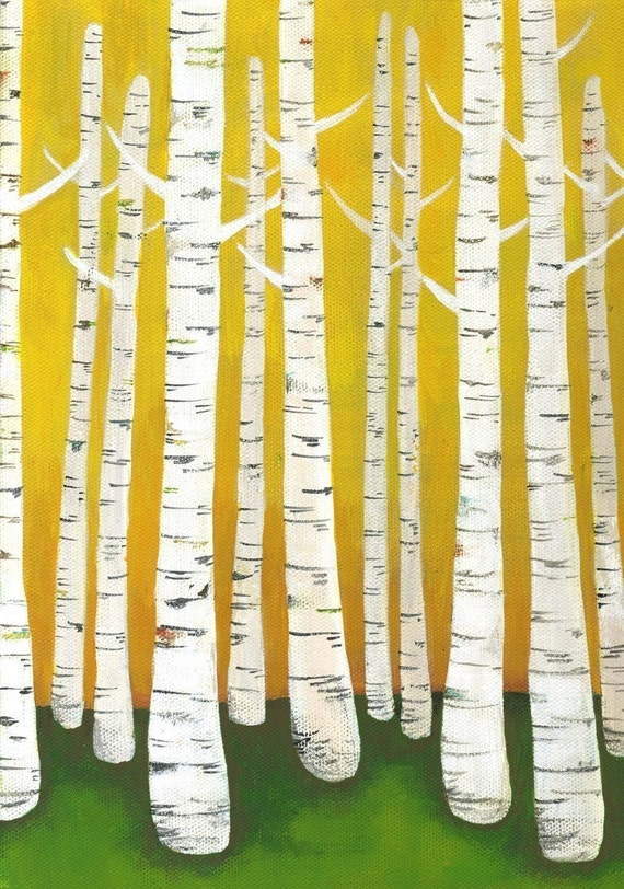 Large Birch Tree Forest Archival Print in Yellow