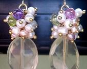 Lemonade Earings Mature Lemon Quartz Freshwater Pearls Semi Precious Stones Glam Chic Sweet Cluster Yellow Gold Princess Gift Feminine Wire Wrapped