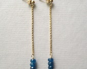 Gemstone Chain Earrings, Faceted Apatite Long Gold-Fill Chain Earrings - juliegarland