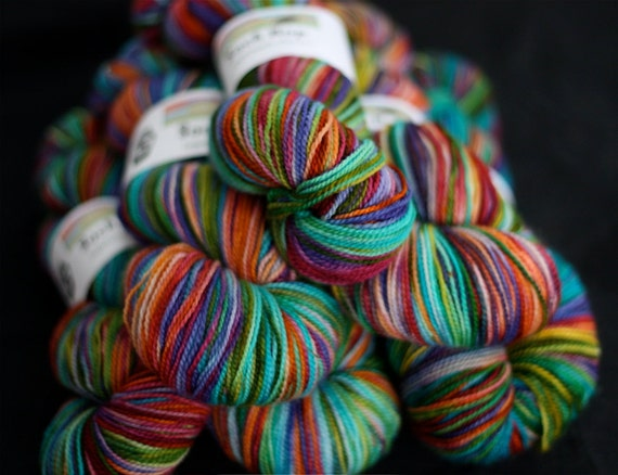 Hand Dyed Yarn, Superwash Merino Wool Sock Yarn, Rainbow Colored, 'A Day At the Carnival'