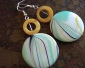 Mint Swirl Mother of Pearl Beaded Dangle earrings
