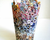 Rolled Paper Vase Sculpture Upcycled from Land of Nod Mail Order Catalogs - MaryJeansThings