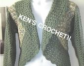 Granny and V-Stitch Bolero Jacket-Pattern only