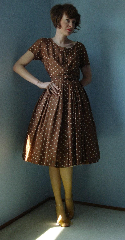 brown polka dot dress outfit