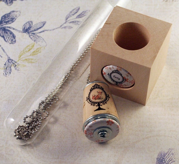 Fox Necklace - Cork in Test Tube and Wood Cube - Upcycled by Uncorked