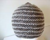 hand knit oatmeal brown wool alpaca hat - beaconknits
