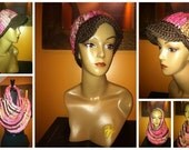 Pink - Brown - Blend Newsboy Cap and Capelet- Neckwarmer