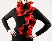 Hand felted ruffled scarf - Red and Black - JumiFelt