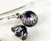 Amethyst earrings Sterling Silver faceted purple gemstones February birthstone - BarronDesignStudio