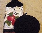 Set Of One Black Potholder And One Apples Hand Towel With Black Crocheted Top