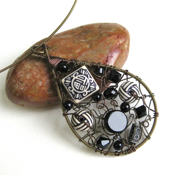Recycled Guitar String Beaded Cluster Pendant Necklace - Teardrop Wire Wrapped Pendant