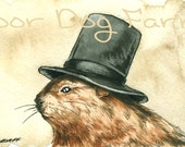 A Jaunty Woodchuck  with Hat - signed ACEO print - poordogfarm