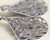 Silver Lace Filigree Teardrop Earrings. Wedding Earrings - HeatherBerry