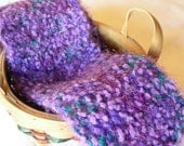 Crochet scarf, purple, teal, nubby, multicolor, extra long - JNOriginals