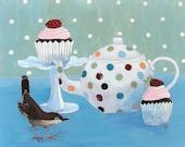 Print of Original Artwork 'Polka Dot Tea' Bird Cupcake Teapot - digiliodesigns