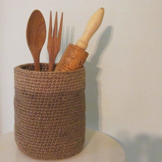 Tall Basket Container in Natural Jute