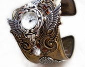 Steampunk Watch Cuff in Brass and Silver Mens Womens Steampunk Jewelry - Aranwen