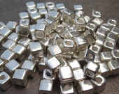 SILVER Mykonos Greek Ceramic Beads 5.5mm SQUARE Bead (10) - LindenAvenueDesigns