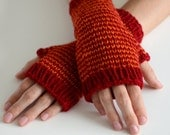 The Harlequin Wrist Warmers - Fitted Fingerless Mittens / Gloves in Dark Red and Burnt Orange - ToilandTrouble