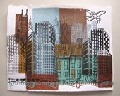 "Chicago ""Chica-On-The-Go"" Linocut Monoprint -- ON SALE"