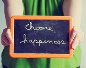 inspirational art photo green orange- Choose Happiness fine art photograph 7x10 print - sandraarduiniphoto