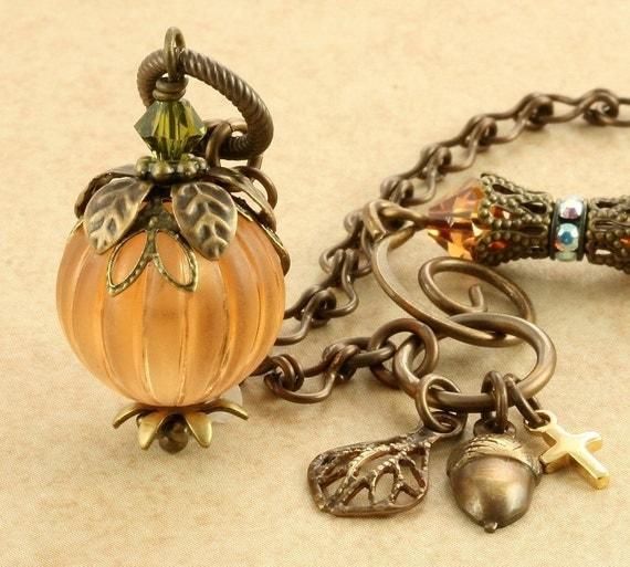 Orange Pumpkin Necklace Halloween Pumpkin Necklace Autumn Fall Pumpkin Necklace Topaz Pumpkin Necklace Vintage Brass Leaf Acorn