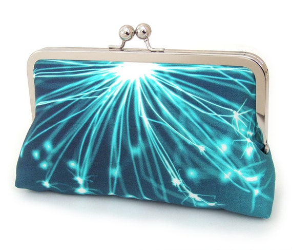 Blue sparkle clutch : Printed silk / luxury purse
