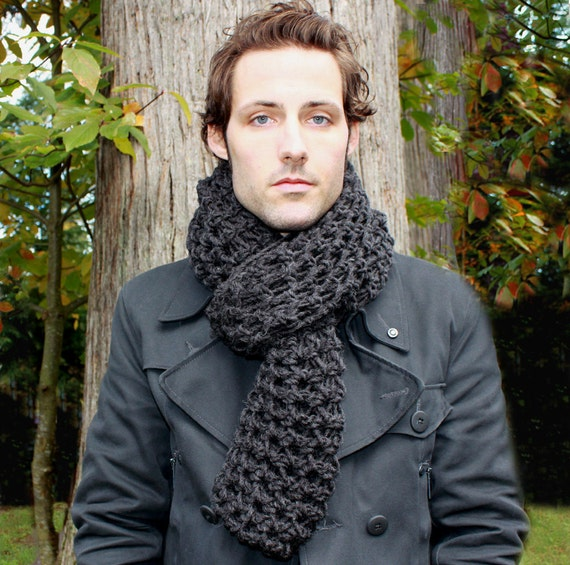 Mens Cowl neck winter Scarf hood charcoal black by BessetteArt Cowl Neck Scarves Men