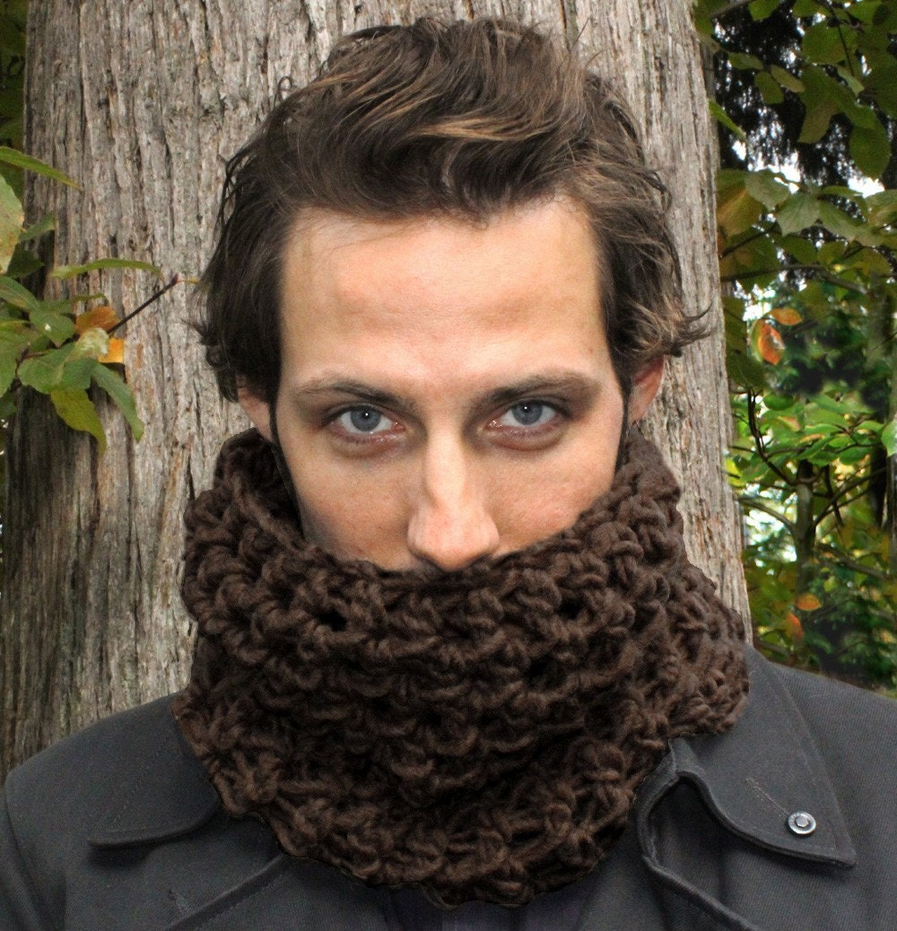 Mens Cowl neck scarf warmer scarflette Espresso by BessetteArt Cowl Neck Scarves Men