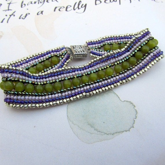 Seed Bead Cuff Bracelet, Green & Purple,  Friendship Bracelet,  Bohemian Jewelry