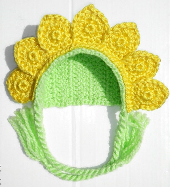 Custom crochet baby girl yellow flower bonnet hat photo prop