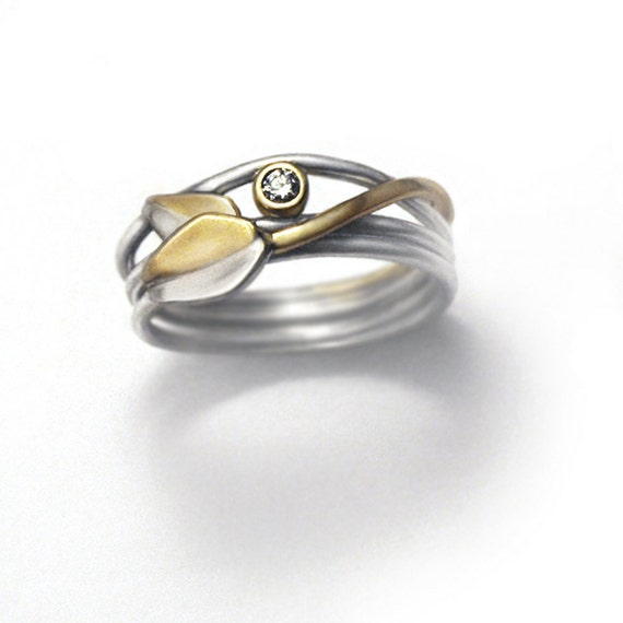 sterling silver and 14k gold diamond ring - Stone Blossom