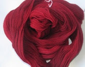 RUBY Red - Pure Wool Hand Dyed Worsted Yarn 250 Yards