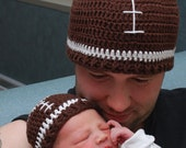 Father Son set  Crochet football Hat beanie Size newborn  adult  classic colors or choose team colors