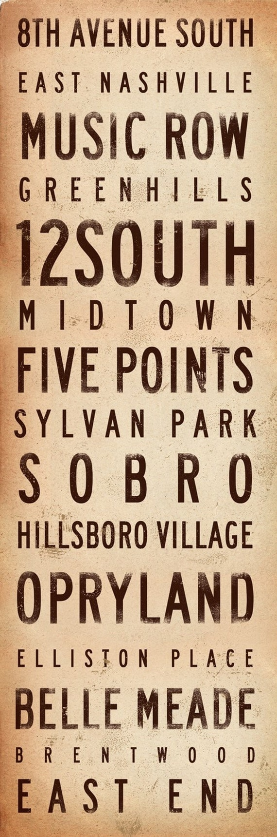Nashville neighborhoods typography graphic art on canvas 12 x 36 x 1.5 by gemini studio
