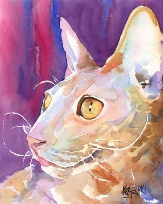 Cornish Rex Cat Art Signed