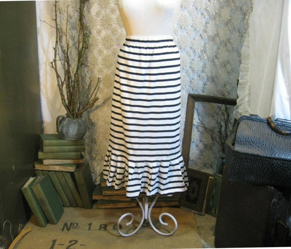 Stripe vintage skirt Nautical French sailors Breton black stripe